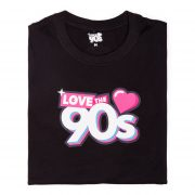 Camiseta Love the 90s Logo negra doblada frontal