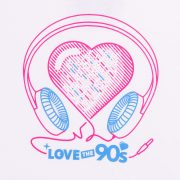 Camiseta Love the 90s Music blanca detalle frontal