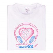 Camiseta Love the 90s Music blanca doblada frontal