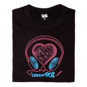 Camiseta Love the 90s Music negra doblada frontal