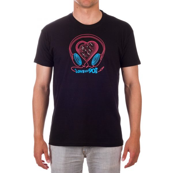 Camiseta Music Love the 90s negra frontal chico