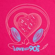 Camiseta Love the 90s Music rosa detalle frontal