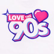Camiseta Love the 90s logo blanca detalle frontal