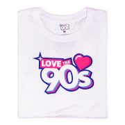 Camiseta Love the 90s logo blanca doblada frontal