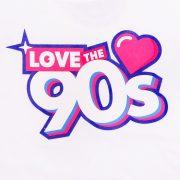Camiseta Love the 90s logo blanca detalle frontal