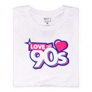 Camiseta Love the 90s logo blanca doblada frontal
